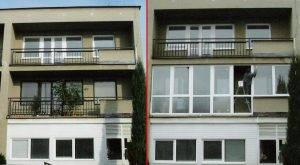 zaskelni balkonu pred a po